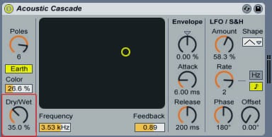 Settings using the Phaser's 'Acoustic Casecade' preset.